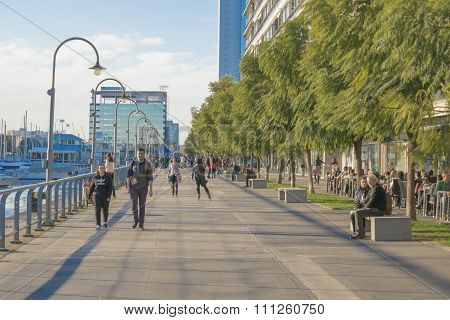 People At Puerto Madero Boardwalk In Buenos Aires Argentina