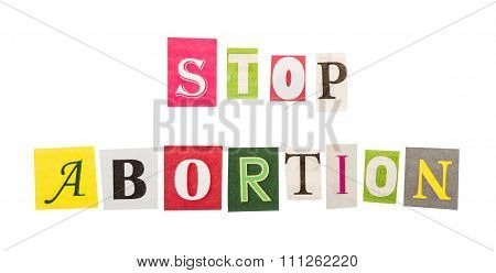 Stop abortion inscription on white