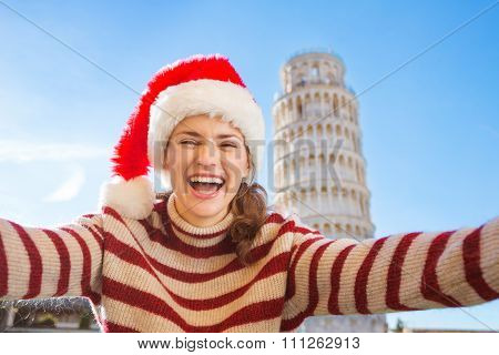 Woman In Santa Hat Taking Selfie In Front Of Leaning Tour, Pisa