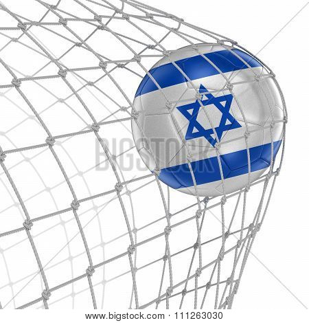 Israeli soccerball in net. Image with clipping path