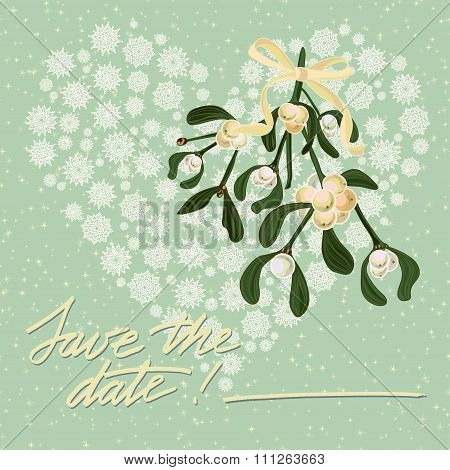 Vintage Christmas Card With Wreath Of Mistletoe Berry