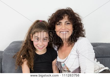 Mother And Daughter,  Cheerful Family Of Single Mum At Home
