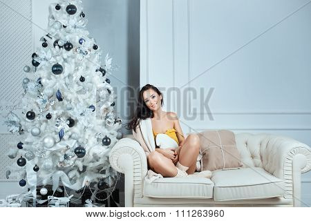 Girl In A Cozy Home Atmosphere.