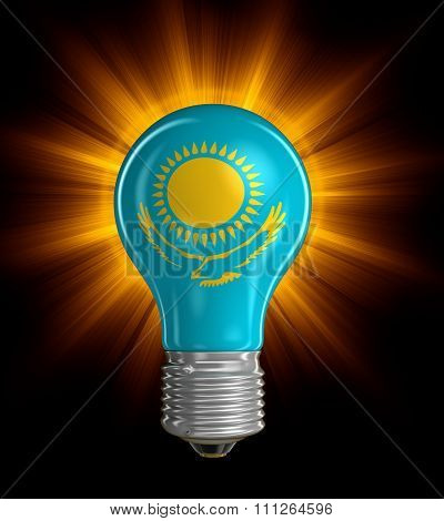 Light bulb with Kazakh Flag.  Image with clipping path
