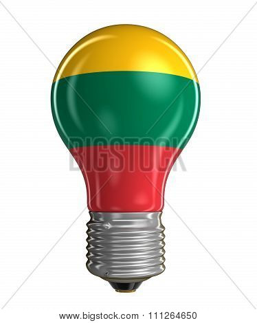 Light bulb with Lithuanian flag.  Image with clipping path