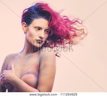 Beautiful woman with magnificent galaxy hair