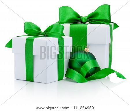 Two Gift White Boxes Tied Green Ribbon Bow And Christmas Bauble Isolated On White Background