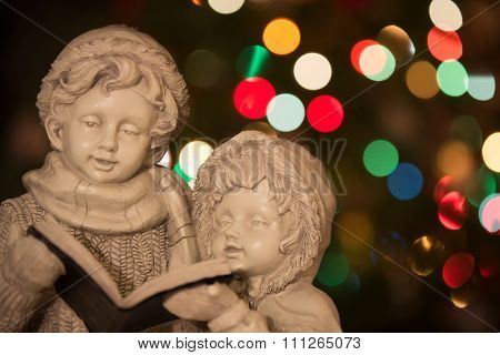 Christmas Carolers With Christmas Lights - Horizontal