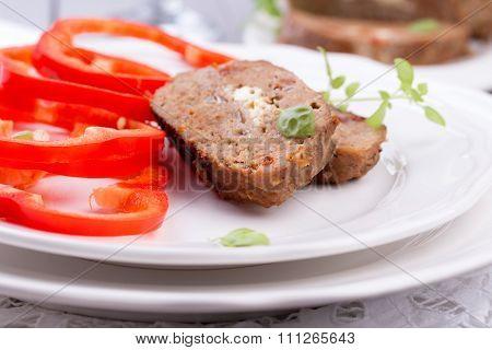 sliced homemade meatloaf.