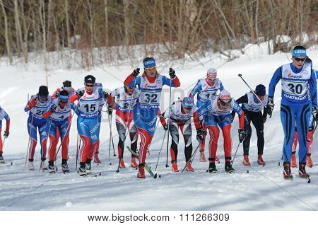 SYKTYVKAR, RUSSIA - APRIL 04, 2013: people competes during the Russian cross-country ski championship-2013. It had been run by Cross-country ski Federation of Russia in Syktyvkar.
