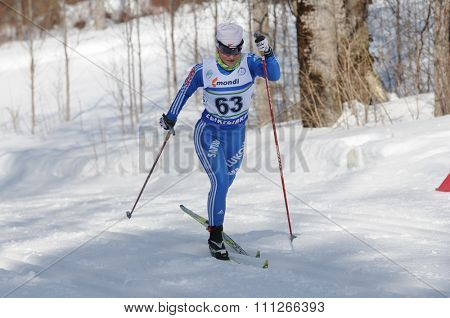 SYKTYVKAR, RUSSIA - APRIL 04, 2013: skier competes during the Russian cross-country ski championship-2013. It had been run by Cross-country ski Federation of Russia in Syktyvkar.
