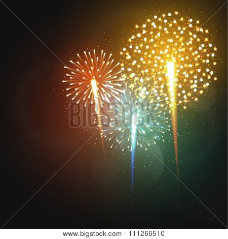 Set realistic fireworks different shapes. Colorful festive, bright firework
