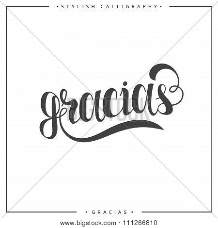 Thank you. Phrase in Spanish handmade. Gracias. Stylish, modern calligraphy