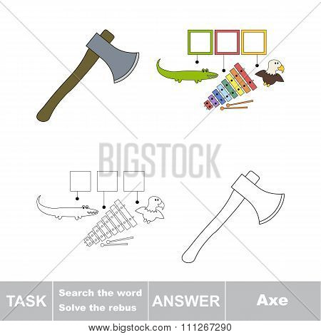 Vector game. Search the word. Find hidden word Axe