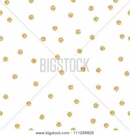 Gold shimmer glitter polka dot seamless pattern.
