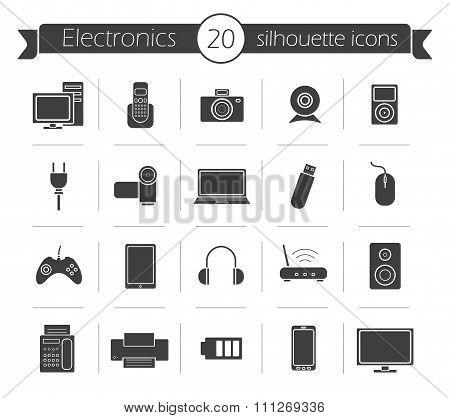 Consumer electronics black silhouette icons set