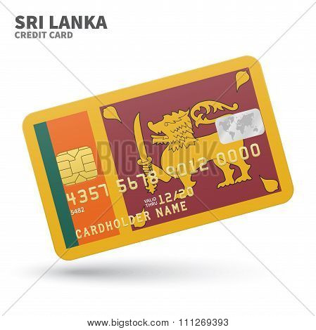 Credit card with Sri Lanka flag background for bank, presentations and business. Isolated on white