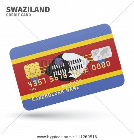 Credit card with Swaziland flag background for bank, presentations and business. Isolated on white