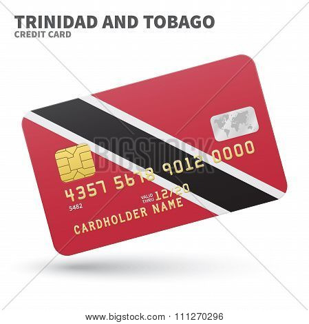 Credit card with Trinidad and Tobago flag background for bank, presentations, business. Isolated on