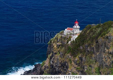 The Lighthouse Ponta Do Arnel Near Nordeste Town In Sao Miguel