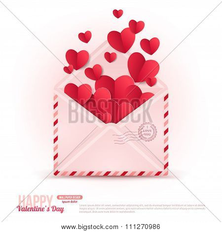 Happy Valentines Day Envelope with Paper Hearts