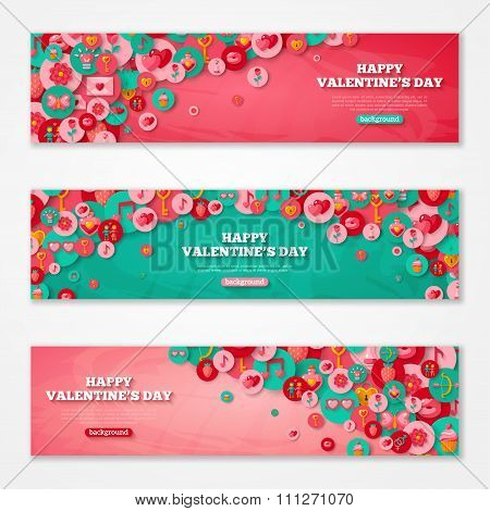 Valentines Horizontal Banners Flat Circle Icons