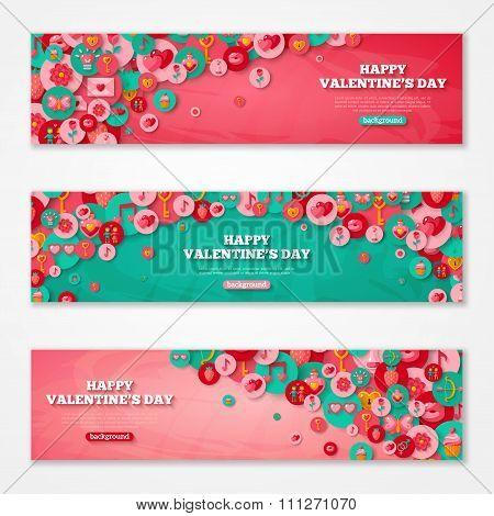 Valentines Horizontal Banners Flat Circle Icons