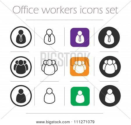 Office workers icons set