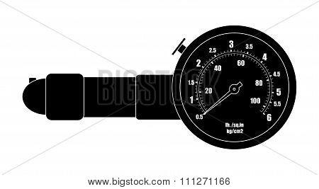 Tire pressure gauge. Black