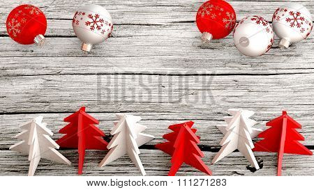 Aerial view of Christmas ornaments on a wooden table