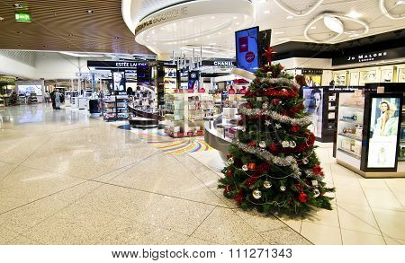 ATHENS GREECE AIRPORT, DECEMBER 14 2015: duty free shops at Eleftherios Venizelos airport