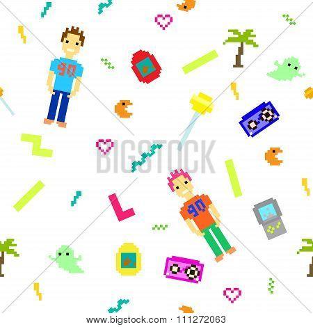 Pixel art 90s retro style seamless pattern