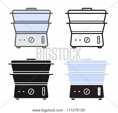 Kitchen electric steamer icons