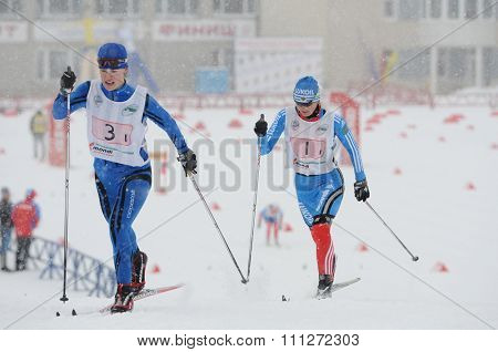 SYKTYVKAR, RUSSIA - APRIL 02, 2013: people competes during the Russian cross-country ski championship-2013. It had been run by Cross-country ski Federation of Russia in Syktyvkar.