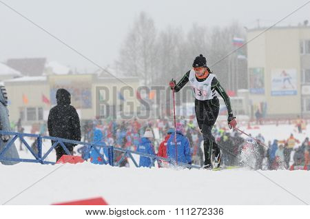 SYKTYVKAR, RUSSIA - APRIL 02, 2013: skier competes during the Russian cross-country ski championship-2013. It had been run by Cross-country ski Federation of Russia in Syktyvkar.