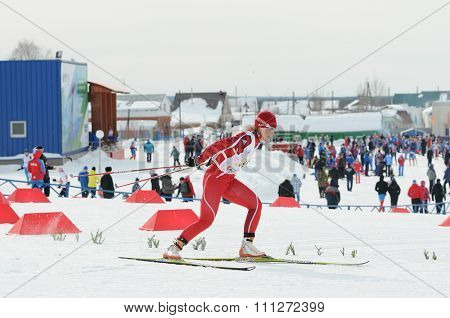 SYKTYVKAR, RUSSIA - MARCH 31, 2013: skier competes during the Russian cross-country ski championship-2013. It had been run by Cross-country ski Federation of Russia in Syktyvkar.