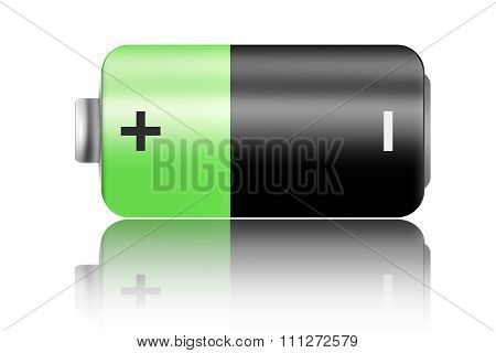 Green Battery Icon Isolated.