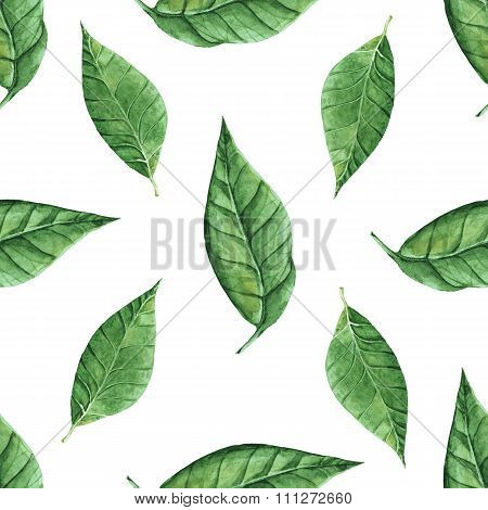 Watercolor leaves pattern