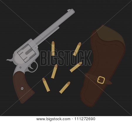 Wild west revolver illustration