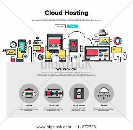 Cloud Hosting Flat Line Web Graphics