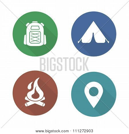 Camping flat design icons set