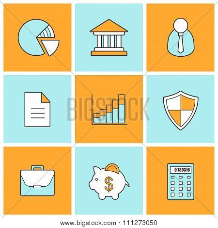 Bank finance linear icons set