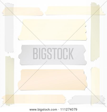 Frame with horizontal and different size sticky tape, adhesive pieces on white background