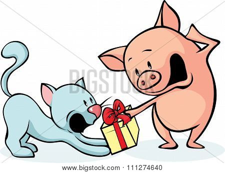 Pig And Cat Fighting For Gift - Cheerful Illustrations