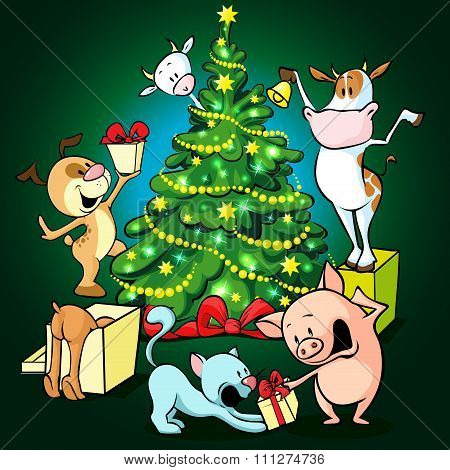 Farm Animals Celebrate Christmas Under The Tree - Vector Illustration