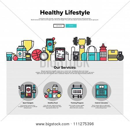 Healthy Lifestyle Flat Line Web Graphics