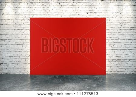 Blank Red Banner In Empty Loft Room With Concrete Floor And Brick Wall, Mock Up