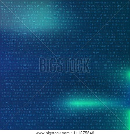 Random numbers abstract Background. Binary Computer Code. Coding Background hacker concept. background for banner computer, programming and IT workshop. Vector Illustration.
