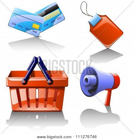 set of different items which use in selling
