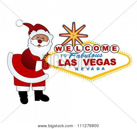 Santa and Welcome to Las Vegas sign - Christmas in Vegas